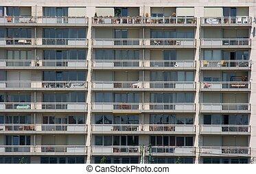 Flats - Front part of a block of flats building
