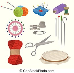 Flatvector set of tools and materials for sewing and knitting. Tailoring equipment. Needlework accessories