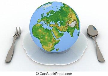 flatwares, 要素, 供給される, これ, 地球, バックグラウンド。, nasa, 白, イメージ