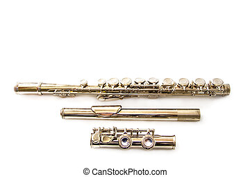 flauta, aislado, blanco