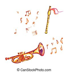 flauta, aquarela, notas, trompete, musical