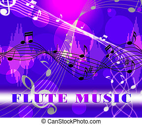 flauta, música, indica, sonido, pista, y, flautista