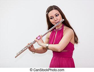 flauta, mujer, músico, plano de fondo, blanco, juego