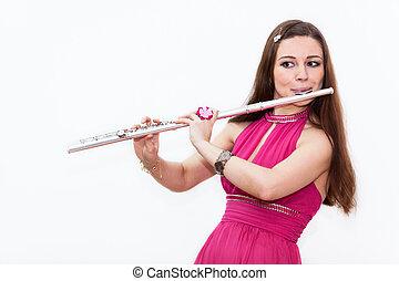 flauta, mujer, músico, plano de fondo, vestido blanco,...