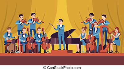 flauta, vector, música, sinfonía, orchestra., clásico, trompeta, instrumentos, concierto, violín, violoncelo, arpa, conductor, concepto, músicos