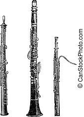flauta, vindima, ilustração, clarinete, fagote, gravado