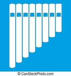 flauto, bianco, icona, pan