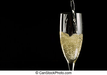 flauto, sfavillante, singolo, champagne, pieno, vino