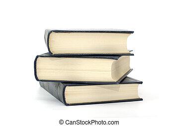 flavescent, classique, trois, isolé, arrière-plan., livres, pages blanches