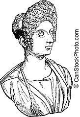 Flavia Julia Titi, daughter of Titus, vintage engraved illustration.