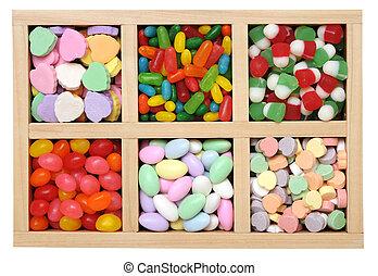 flavor candies in wooden box
