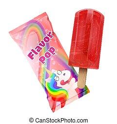 Flavor pop ice cream with packaging design. Vector Plastic foil pack red template for branding adn design. Illustration