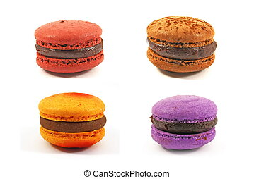 flavoured macaroons - different flavor macarrons isolated on...