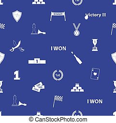 flawless victory symbols blue and white seamless pattern eps10