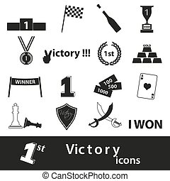 flawless victory symbols set of icons eps10