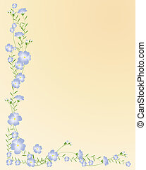 flax design - an illustration of flax flowers with buds and ...