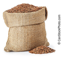 Flax seed in burlap bag isolated on white background