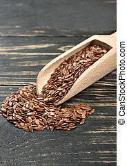 Flax seed in scoop
