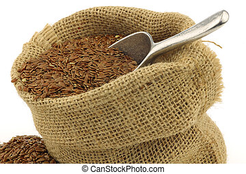 Flax seed (linseed) in a burlap bag