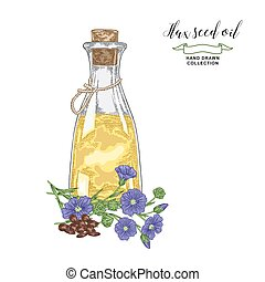 Flax seed oil hand drawn. Colorful flax flowers, seeds and glass bottle of oil isolated on white background. Vector illustration. Vintage engraving style.