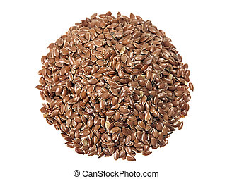 Flax seed round heap on white
