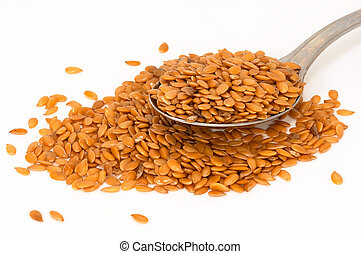 Flax seed spread, and some in spoon - Flax seed is also...