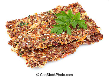 Flax seed whole grain crackers isolated