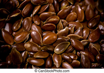 Flax Seeds Close-Up.