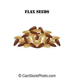 Flax seeds illustration on the white background. Vector illustration