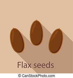 Flax seeds icon. Flat illustration of flax seeds vector icon for web design