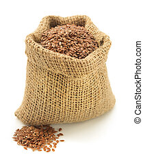 flax seeds in bag isolated on white