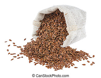 Flax seeds in burlap bag isolated on white background close up