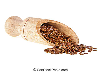 Flax seeds in wooden scoop isolated on white background, close up