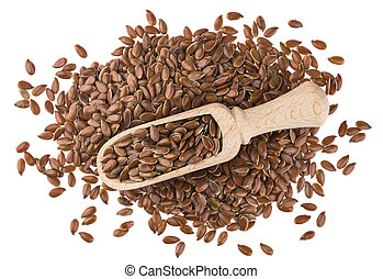 Flax seeds in wooden scoop isolated on white background close-up
