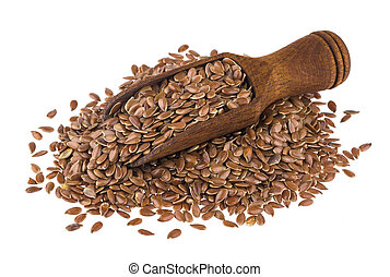 Flax seeds in wooden scoop isolated on white background
