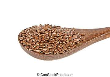 Flax seeds in wooden spoon isolated on white background