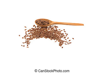 flax seeds on wooden spoon isolated on white background