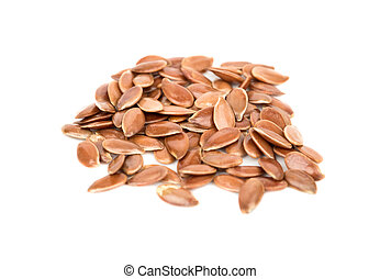 Flax seeds - Several raw flax seeds on a white background