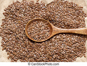 Flax seeds with spoon