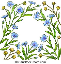 flax vector frame on white background