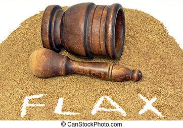 flaxseed, med, mörsare och mortelstöt