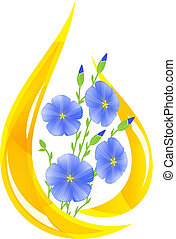 Flaxseed oil. Stylized drop of oil and flax flowers inside.