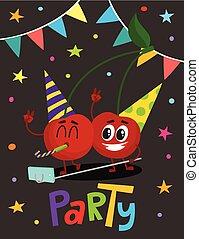 flayer, cerise, deux, caractères, fête, dessin animé