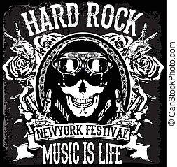 """flayer, cranio, vendemmia, roccia, duro, etichetta, t-shirt, """", hipster, manifesto, stampa, monocromatico, distintivo, o"""