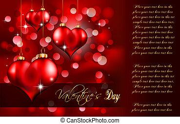 flayer, guld, valentinkort, elegant, dag, röd