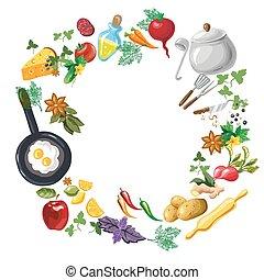 flayer, menú, cocina, o, plantilla, clase