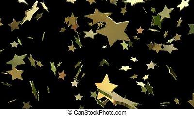 flaying, estrelas, em, ouro, cor