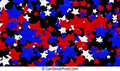 flaying, estrelas, em, vermelho, e, branca