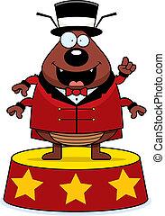 A cartoon flea circus ringmaster announcing the show.