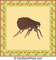 Flea color illustration in vintage square frame